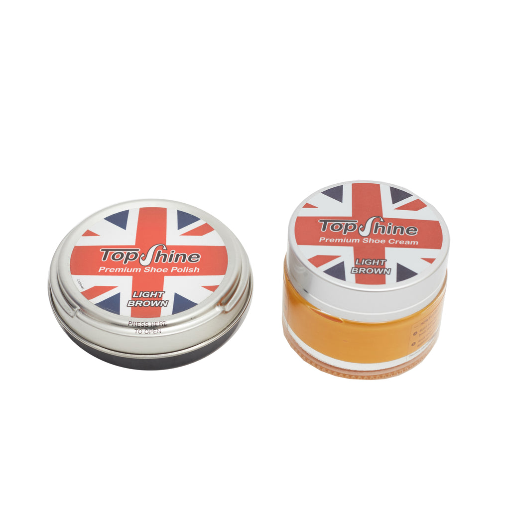 Light brown shoe cream and shoe wax