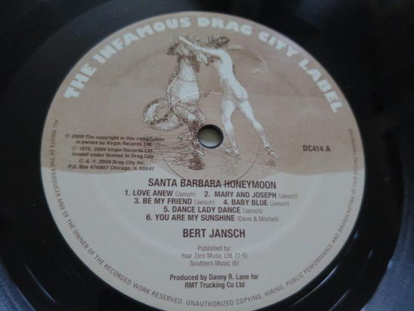 Bert Jansch - Santa Barbara Honeymoon - LP UK Vinyl Album Record Label Closeup