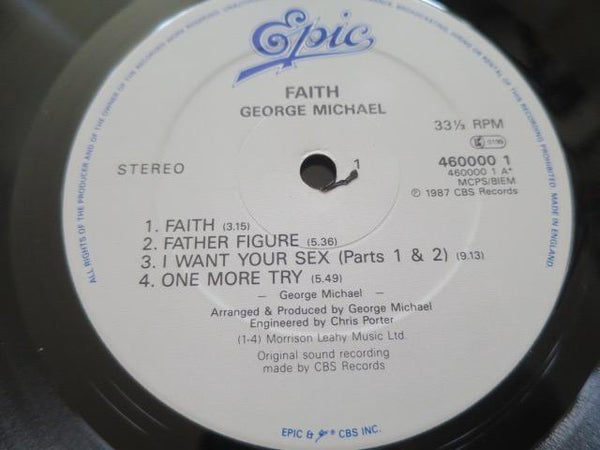 George Michael - Faith - LP UK Vinyl Album Record Label Closeup