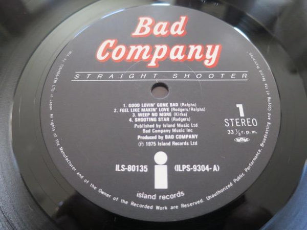 Bad Company - Straight Shooter - LP UK Vinyl Album Record Label Closeup