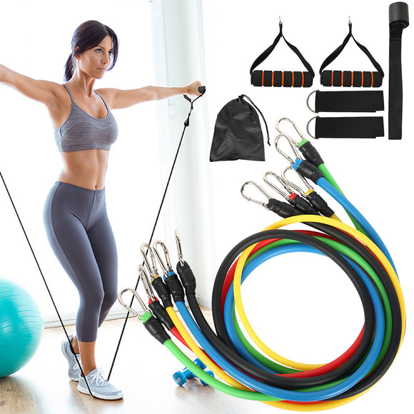 11 Pcs Fitness Pull Rope Latex Resistance Bands_0