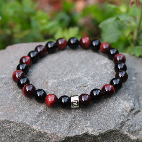 "Bracciale ""Forza & Power"" da Red Tiger Eye e Onice Nero"