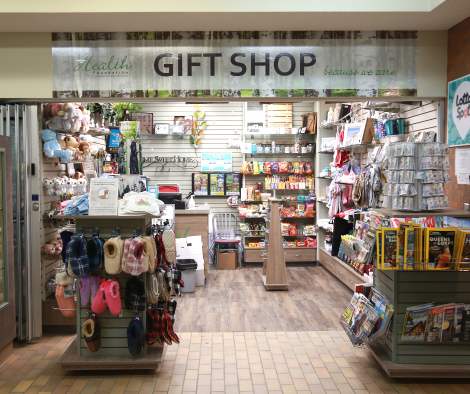 The outside of the Lloydminster Hospital Gift Shop. There is a variety of options that you can purchase.