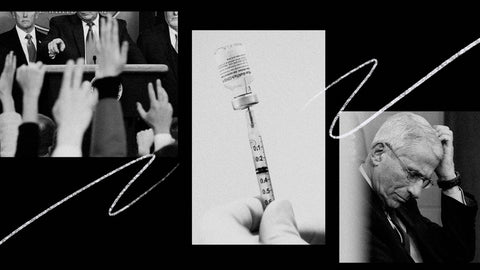 Black and white photo of Dr. Fauci and a vaccine.