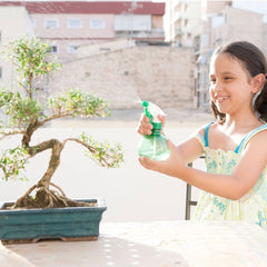 Little girl watering her bonsai tree with a sprayer