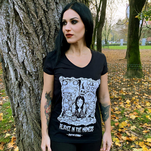 "Female T-Shirt ""REJOICE IN THE MADNESS"""