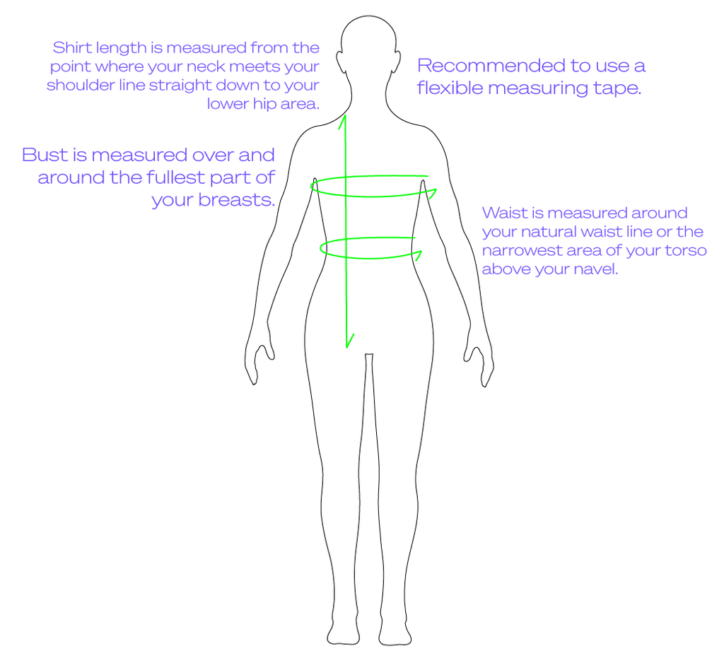 Drawing Of How To Measure A Woman's Body For Accurate Sizing