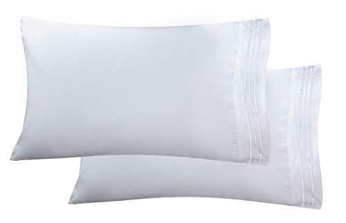 Luxury Ultra-Soft 2-Piece Pillowcase Set 1500 Thread Count Egyptian Quality Microfiber - Double Brushed - 100% Hypoallergenic - Wrinkle Resistant, King Size, White - PHUNUZ