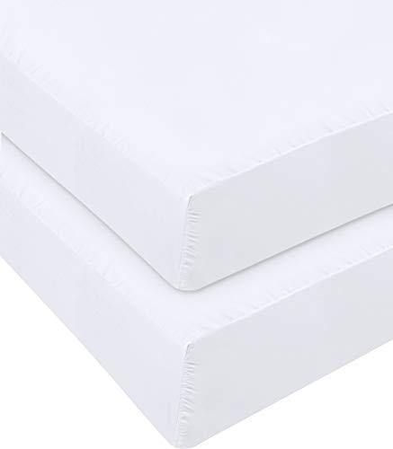 Utopia Bedding Fitted Sheet - Pack of 2 Bottom Sheets - Soft Brushed Microfiber - Deep Pockets, Shrinkage & Fade Resistant - Easy Care (Twin, White) - PHUNUZ