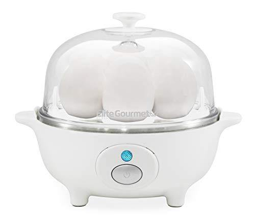 Elite Gourmet EGC-007 Easy Electric Poacher, Omelet Eggs & Soft, Medium, Hard-Boiled Egg Boiler Cooker with Auto Shut-Off and Buzzer, Measuring Cup Included, BPA Free, 7, White - PHUNUZ