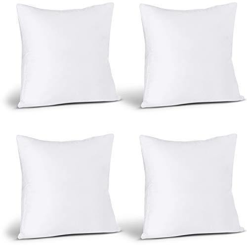 Utopia Bedding Throw Pillows Insert (Pack of 4, White) - 18 x 18 Inches Bed and Couch Pillows - Indoor Decorative Pillows - PHUNUZ