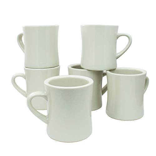 COLETTI Diner Coffee Mugs Set of 6 | White Ceramic Coffee Cups for Retro Kitchen