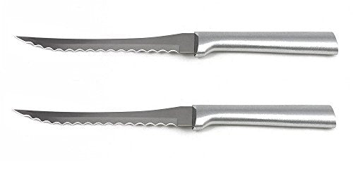 Rada MFG Tomato Slicing Knife Stainless Steel Blade With Aluminum Handle Made in USA, 8-7/8 Inches, 2 Pack