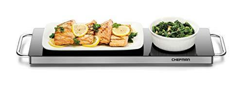 Chefman w/Silicone Heating Element, Food for Parties, Stainless Steel Frame & Warming Tray, Long Warming Plate - PHUNUZ