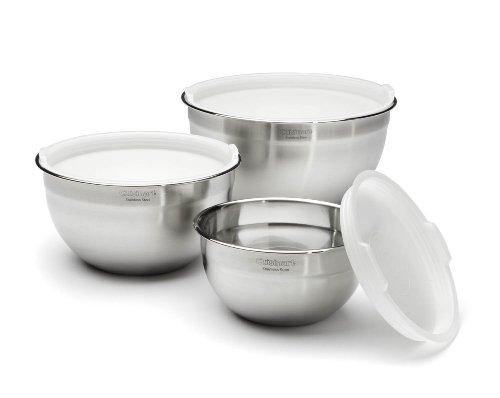 Cuisinart CTG-00-SMB Stainless Steel Mixing Bowls with Lids, Set of 3 - PHUNUZ