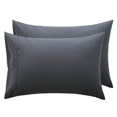 Bedsure Dark Grey Pillowcase Set - Queen Size (20 x 30 inches) Bed Pillow Cover - Brushed Microfiber, Wrinkle, Fade & Stain Resistant - Envelop Closure Pillow Case Set of 2 - PHUNUZ