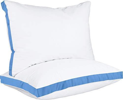 Utopia Bedding Gusseted Pillow (2-Pack) Premium Quality Bed Pillows - Side Back Sleepers - Blue Gusset - Queen - 18 x 26 Inches - PHUNUZ