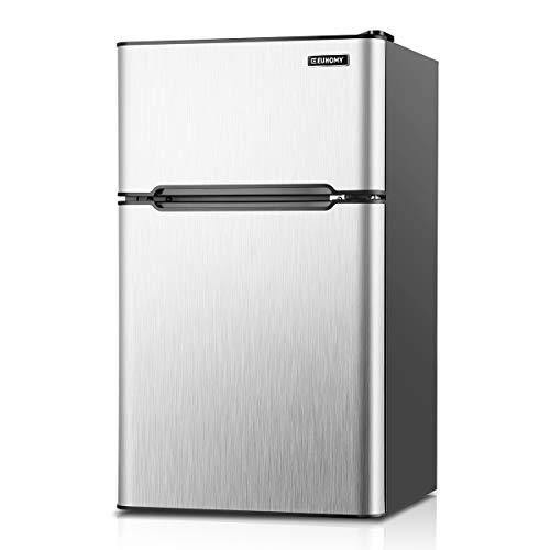 Euhomy Mini Fridge with Freezer, 3.2 Cu.Ft Mini refrigerator with freezer, Dorm fridge with freezer 2 door For Bedroom/Dorm/Apartment/Office - Food Storage or Cooling Drinks(Silver). - PHUNUZ