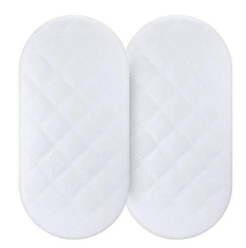 Waterproof Bassinet Mattress Pad Cover 2 Pack Fit for Hourglass/Oval Bassinet Mattress Baby Bassinet Mattress Protector for Boys & Girls by YOOFOSS - PHUNUZ