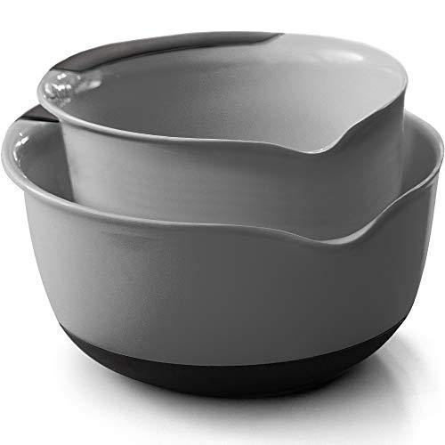 Gorilla Grip Original Mixing Bowls Set of 2, Slip Resistant Bottom, Includes 5 Qt and 3 Quart Nested Bowl, Dishwasher Safe, Grip Handle for Easy Mix and Pour, Baking and Cooking 2 Piece Set, Gray - PHUNUZ