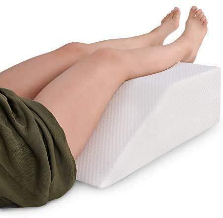 Leg Elevation Pillow with Memory Foam Top - Elevating Leg Rest to Reduce Swelling, Back Pain, Hip and Knee Pain - Ideal for Sleeping, Reading, Relaxing- Breathable and Washable Cover- 8in Height Wedge - PHUNUZ