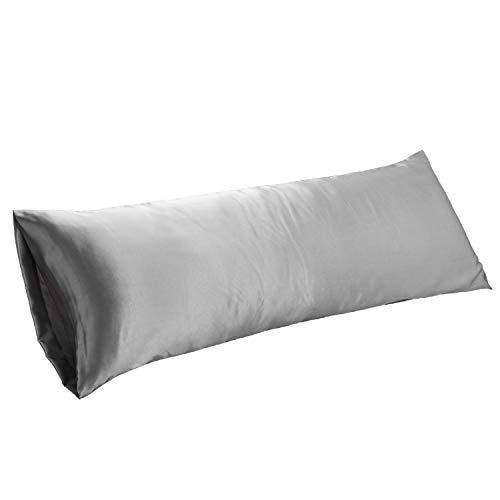 Bedsure Body Pillow Pillowcase Grey 20 x 54 inches - Super Soft Silky Satin Body Pillowcase - Envelope Closure Body Pillow Cover for Adults Pregnant Women - PHUNUZ