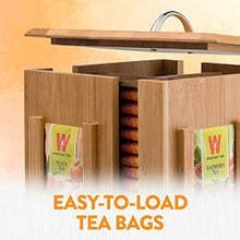 Load image into Gallery viewer, Tea Bag Caddy Organizer - Smooth Finish Solid Bamboo Teabag Holder with 4 Compartments - Rotates 360 Degrees, Holds 160 Tea Bags