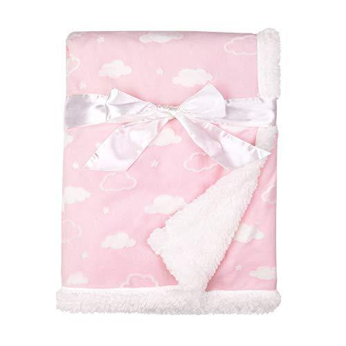 American Baby Company Heavenly Soft Chenille Sherpa Receiving Blanket, 3D Pink, 30