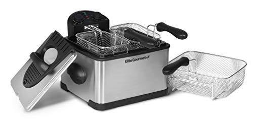 Elite Gourmet 1700-Watt Stainless-Steel Triple Basket Electric Deep Fryer with Timer and Temperature Knobs, 4.2L/17-Cup - PHUNUZ