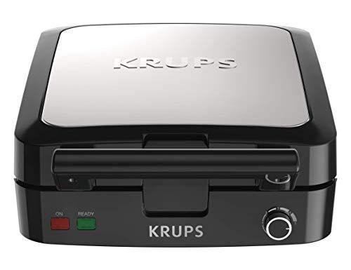 KRUPS Belgian Waffle Maker, Waffle Maker with Removable Plates, 4 Slices, Black and Silver - PHUNUZ
