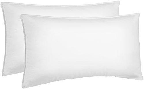 AmazonBasics Down Alternative Bed Pillows for Stomach and Back Sleepers - 2-Pack, Soft Density, King - PHUNUZ
