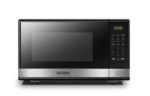 BLACK+DECKER EM031MB11 Digital Microwave Oven with Turntable Push-Button Door, Child Safety Lock, 1000W, 1.1cu.ft, Stainless Steel, 1.1 Cu.ft - PHUNUZ