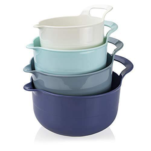Cook with Color Mixing Bowls - 4 Piece Nesting Plastic Mixing Bowl Set with Pour Spouts and Handles (Ombre Blue) - PHUNUZ