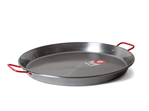 Garcima 18-Inch Carbon Steel Paella Pan, 46cm, Medium, Silver