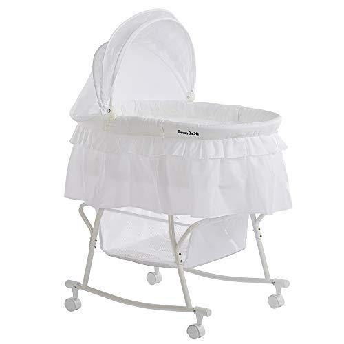 Dream On Me Lacy Portable 2-in-1 Bassinet, White - PHUNUZ
