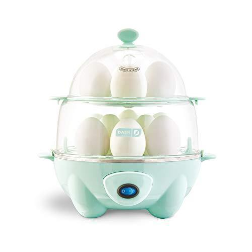 Dash Deluxe Rapid Egg Cooker: Electric, 12 Capacity for Hard Boiled, Poached, Scrambled, Omelets, Steamed Vegetables, Seafood, Dumplings & More, with Auto Shut Off Feature, Aqua - PHUNUZ