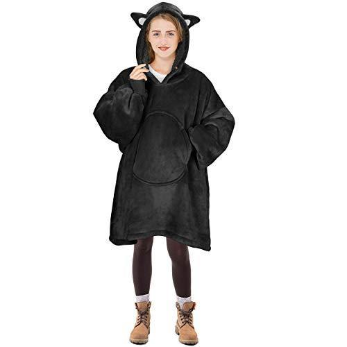 Cat Blanket Sweatshirt, Super Soft Warm Cozy Wearable Sherpa Hoodie for Teens, Boys, Girls, Youth, Kids (7-15yr), Oversize, Reversible, Hood & Large Pocket, One Size, Black - PHUNUZ