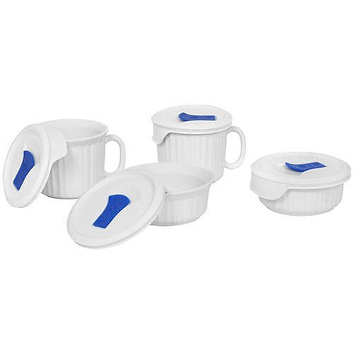 CorningWare 882374607838 French White Pop-Ins 8-Piece Round Bake and Serve Set