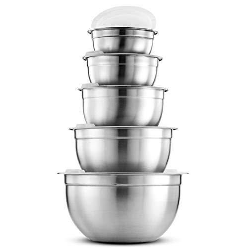 Premium Stainless Steel Mixing Bowls with Airtight Lids (Set of 5) Nesting Bowls for Space Saving Storage, Easy Grip & Stability Design Mixing Bowl Set Versatile For Cooking, Baking & Food Storage - PHUNUZ