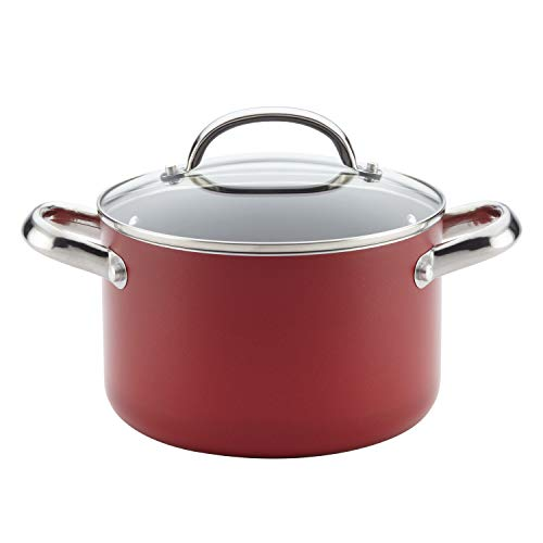 Farberware Buena Cocina Nonstick Stock Soup Pot/Stockpot with Lid, 4 Quart, Red