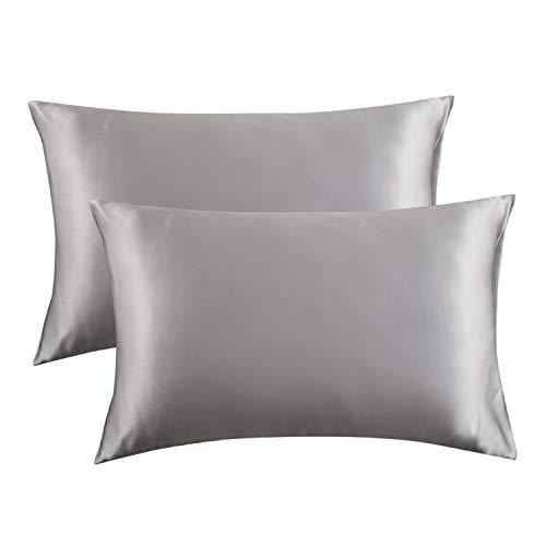 Bedsure Satin Pillowcase for Hair and Skin Silk Pillowcase 2 Pack, Queen Size(Silver Grey, 20x30 inches) Pillow Cases Set of 2 - Slip Cooling Satin Pillow Covers with Envelope Closure - PHUNUZ