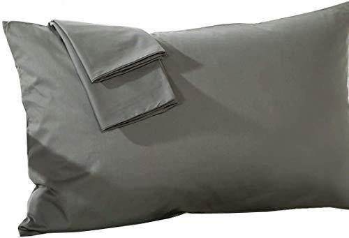 Travel Pillow Case 12x16 Size Set of 2 Envelope Closure Toddler Pillowcase 600 Thread Count 100% Egyptian Cotton Travel Pillow Cover 12x16 , Dark Grey Solid - PHUNUZ