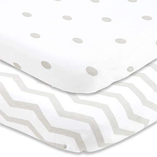 Cuddly Cubs Pack and Play Sheets Fitted – for Graco Pack n Play Playard – 2 Pack – Snuggly Soft Jersey Cotton Mini Crib Mattress Sheets Set for Baby Boy, Girl – Grey Polka Dots, Chevron - PHUNUZ