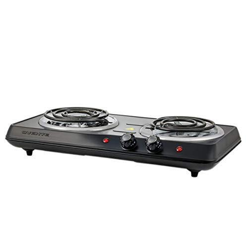 Ovente 5.7 & 6 Inch Double Hot Plate Electric Coil Stove, Portable 1700 Watt Cooktop Countertop Kitchen Burner with Adjustable Temperature Control & Stainless Steel Base Easy to Clean, Black BGC102B - PHUNUZ