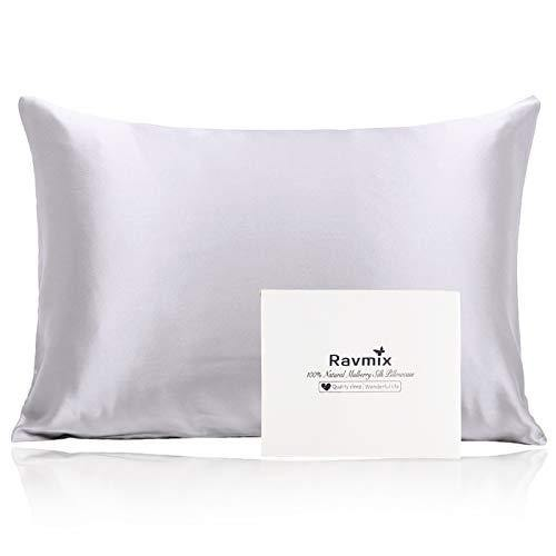 Ravmix 100% Pure Mulberry Silk Pillowcase for Hair and Skin with Hidden Zipper, Both Sides 21 Momme Natural Silk, 1PCS, Standard Size 20×26inch, Silver Grey - PHUNUZ