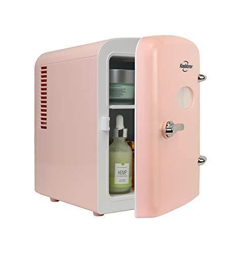 Koolatron KRT04-P Retro Personal Cooler 4 Liter/6 Can AC/DC Portable Mini Fridge, Thermoelectric Cooler in Pink Great for Skincare, Medications, Cars, Homes, Offices, Bedroom and Dorms, ETL Listed - PHUNUZ