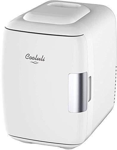 Cooluli Mini Fridge Electric Cooler and Warmer (4 Liter / 6 Can): AC/DC Portable Thermoelectric System w/ Exclusive On the Go USB Power Bank Option (White) - PHUNUZ