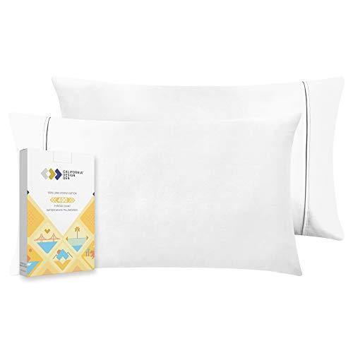 400 Thread Count 100% Cotton Pillow Cases, Pure White Standard Pillowcase Set of 2, Long-Staple Combed Pure Natural Cotton Pillows for Sleeping, Soft & Silky Sateen Weave Bed Pillow Covers - PHUNUZ