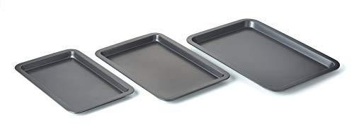 Betty CrockerSet of 3 Non-Stick Cookie and Baking Sheets - Includes Large, Medium, and Small Cookie Sheet. Non-stick Coated Steel and Dishwasher Safe - PHUNUZ