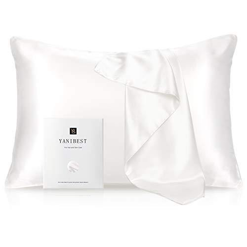 YANIBEST Silk Pillowcase for Hair and Skin - 21 Momme 600 Thread Count 100% Mulberry Silk Bed Pillowcase with Hidden Zipper, 1 Pack Queen Size Pillow Case White - PHUNUZ